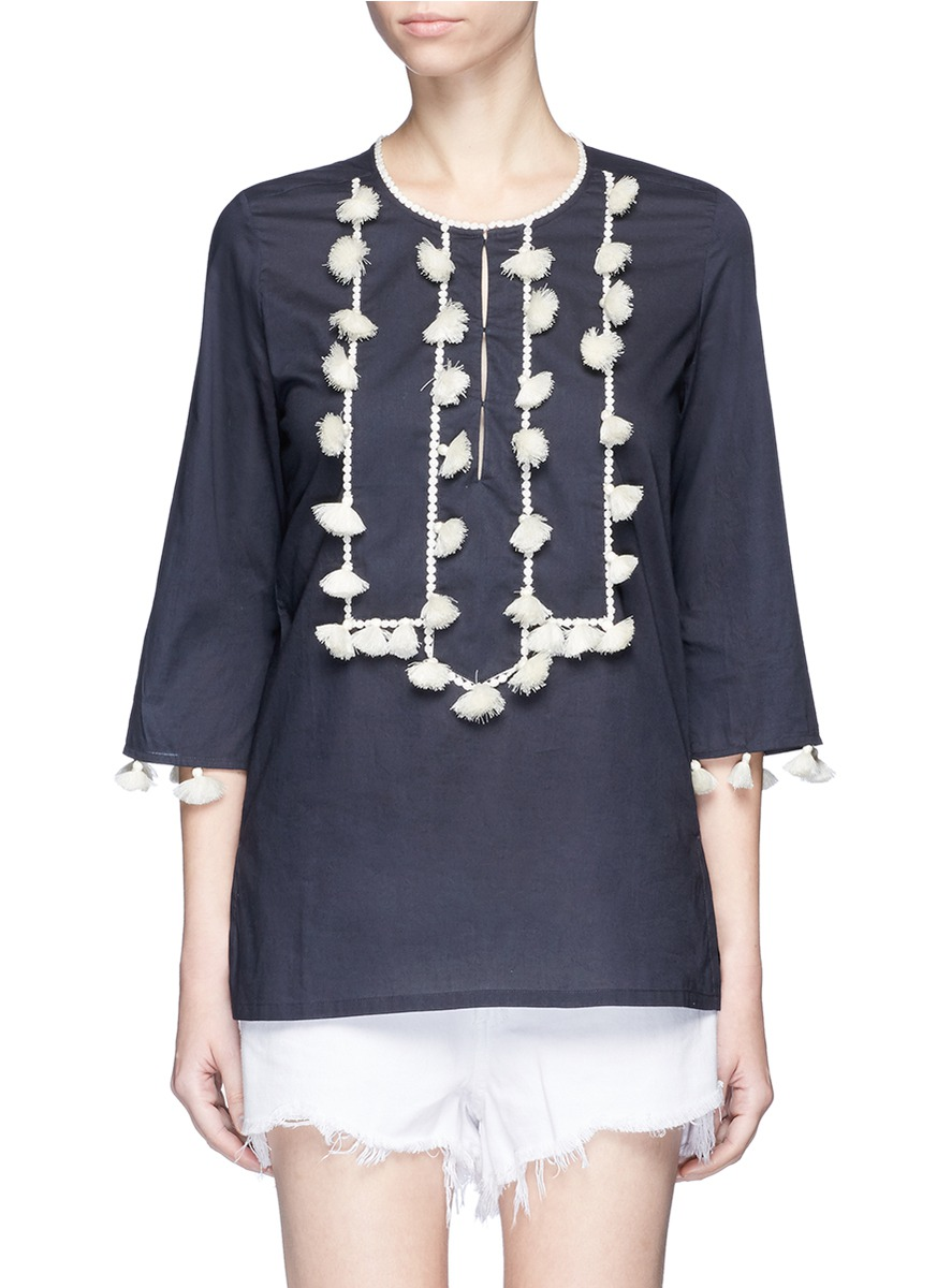 Zita tassel pompom cotton tunic top by Figue