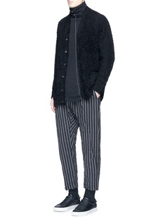 ATTACHMENTStripe wool-linen drop crotch pants