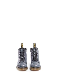 Dr. Martens 'Brooklee IE' metallic oil slick leather toddler boots