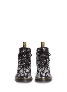Dr. Martens 'Delaney Glow' reflective snakeskin print leather kids boots