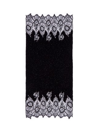 Valentino - Floral lace beaded plissé pleat cashmere-wool scarf