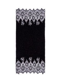 Valentino Floral lace beaded plissé pleat cashmere-wool scarf