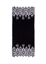 Floral lace beaded plissé pleat cashmere-wool scarf