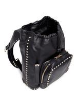 'Rockstud' flap drawstring leather backpack