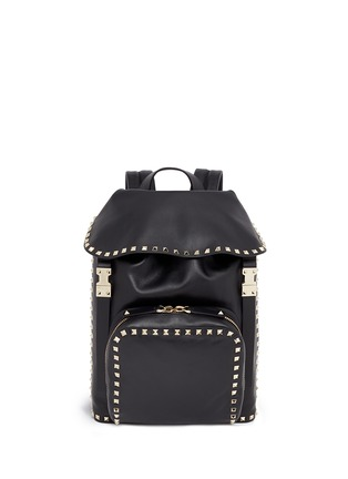 Main View - Click To Enlarge - Valentino - 'Rockstud' flap drawstring leather backpack