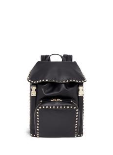 Valentino'Rockstud' flap drawstring leather backpack