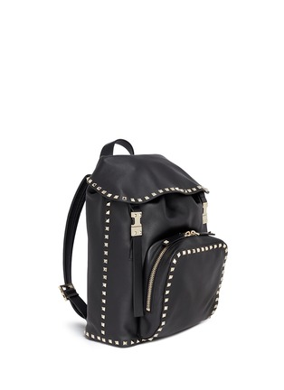 Figure View - Click To Enlarge - Valentino - 'Rockstud' flap drawstring leather backpack