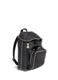 Valentino 'Rockstud' flap drawstring leather backpack