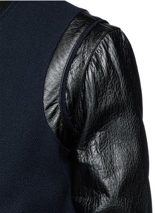 Detail View - Click To Enlarge - SAINT LAURENT - Leather sleeve wool teddy jacket