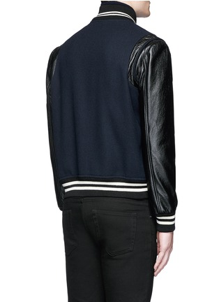 Back View - Click To Enlarge - SAINT LAURENT - Leather sleeve wool teddy jacket