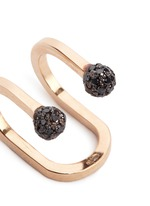 'Double Rocker' black diamond 18k rose gold lip ring