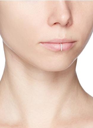 Figure View - Click To Enlarge - Kim Mee Hye - 'Single Rocker' diamond 18k rose gold lip ring