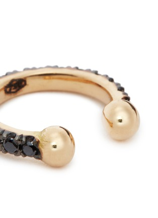 Detail View - Click To Enlarge - Kim Mee Hye - 'Single Rocker' black diamond 18k rose gold lip ring