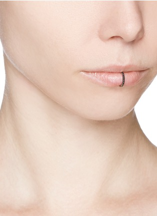 Figure View - Click To Enlarge - Kim Mee Hye - 'Single Rocker' black diamond 18k rose gold lip ring