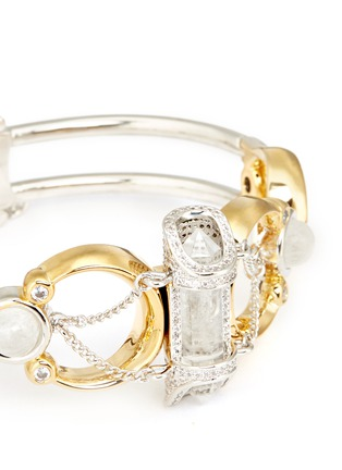 Detail View - Click To Enlarge - Eddie Borgo - 'Sibyl' chain rock crystal cabochon moon cuff
