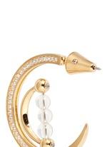 'Dahlia' crystal pavé crescent moon hoop earrings