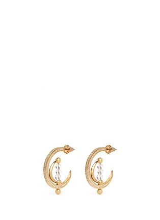 Main View - Click To Enlarge - Eddie Borgo - 'Dahlia' crystal pavé crescent moon hoop earrings