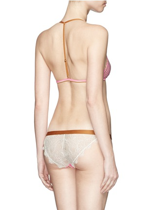 Back View - Click To Enlarge - Love Stories - 'Wild Rose' stripe elastic waist lace briefs