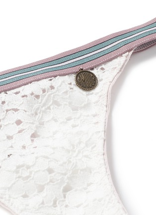 Detail View - Click To Enlarge - Love Stories - 'Room Service' stripe elastic lace thong