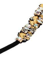 Bead and crystal fabric-backed bracelet