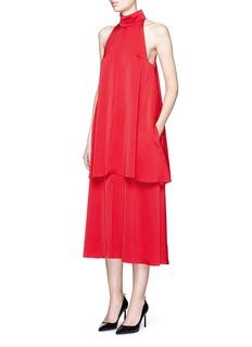 MS MINHigh neck layered sateen midi dress