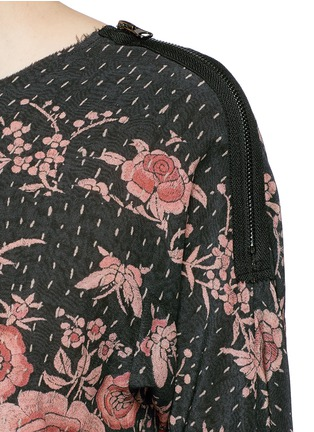Detail View - Click To Enlarge - By Walid - 'Isabel' asymmetric zip rose print silk tunic