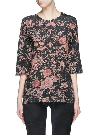 Main View - Click To Enlarge - By Walid - 'Isabel' asymmetric zip rose print silk tunic