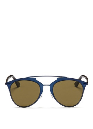Main View - Click To Enlarge - Dior - 'Reflected' acetate temple metal veneer aviator sunglasses