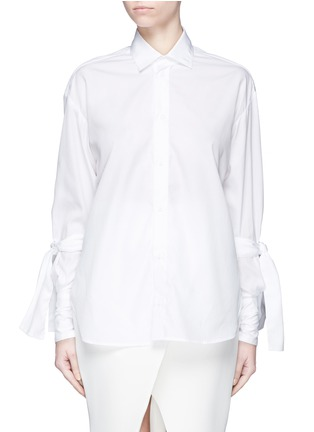 Main View - Click To Enlarge - Maticevski - 'Pivoted' sleeve tie cotton poplin shirt