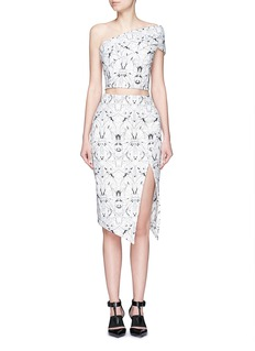 MATICEVSKI'Personify' spider orchid floral embroidery mesh skirt