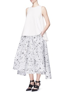 MATICEVSKI'Axle' spider orchid floral embroidery full skirt