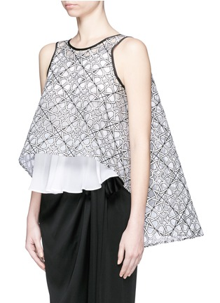 Front View - Click To Enlarge - Maticevski - 'Interstellar' star jacquard sleeveless cape flare top