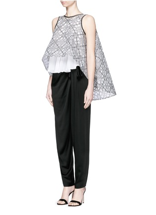 Maticevski - 'Interstellar' star jacquard sleeveless cape flare top