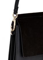 'Faye' medium suede flap leather shoulder bag