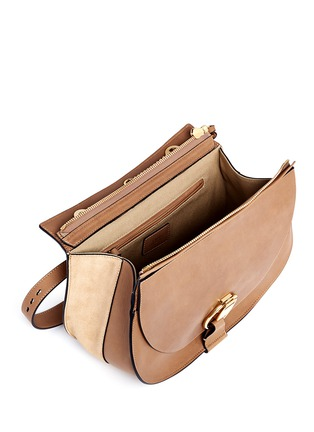 Detail View - Click To Enlarge - Chloé - 'Goldie' medium suede trim leather satchel