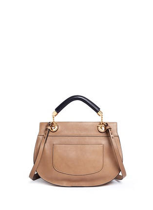 Back View - Click To Enlarge - Chloé - 'Goldie' medium suede trim leather satchel