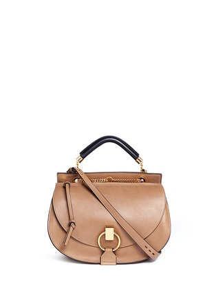 Main View - Click To Enlarge - Chloé - 'Goldie' medium suede trim leather satchel