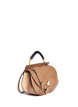 Figure View - Click To Enlarge - Chloé - 'Goldie' medium suede trim leather satchel