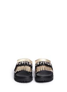 PEDDER RED'Corey' metallic fringe strap leather sandals