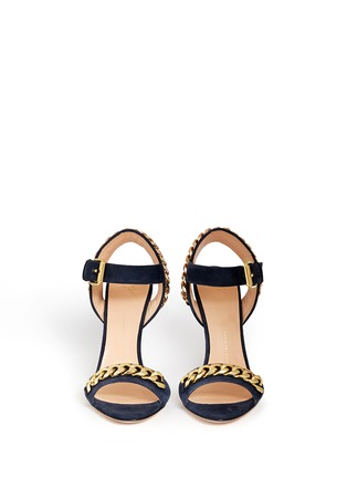 Figure View - Click To Enlarge - Giuseppe Zanotti Design - 'Coline' curb chain brocade wedge suede sandals