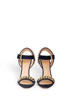 GIUSEPPE ZANOTTI DESIGN'Coline' curb chain brocade wedge suede sandals