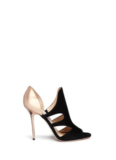JIMMY CHOO 'Toysen' mirror leather suede cutout sandals