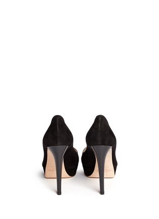 Back View - Click To Enlarge - Jimmy Choo - 'Dahlia' peep toe suede platform pumps