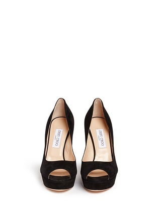 Figure View - Click To Enlarge - Jimmy Choo - 'Dahlia' peep toe suede platform pumps