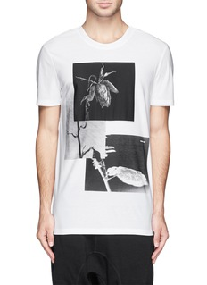 HELMUT LANG Withered rose print long T-shirt