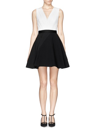 Main View - Click To Enlarge - alice + olivia - 'Tobin' low cut combo flare dress