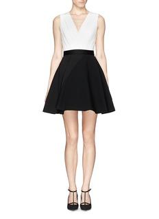 ALICE + OLIVIA'Tobin' low cut combo flare dress