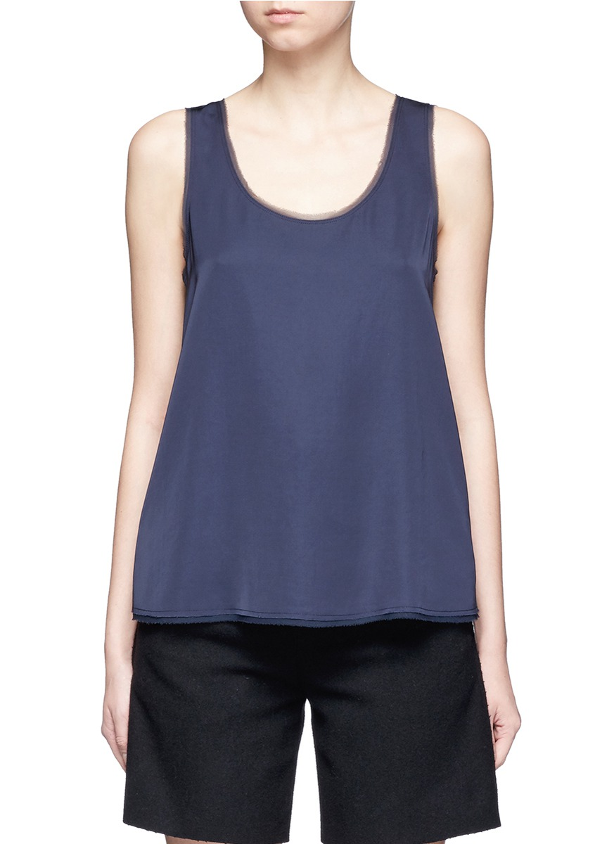 Raw edge satin tank top by Vince