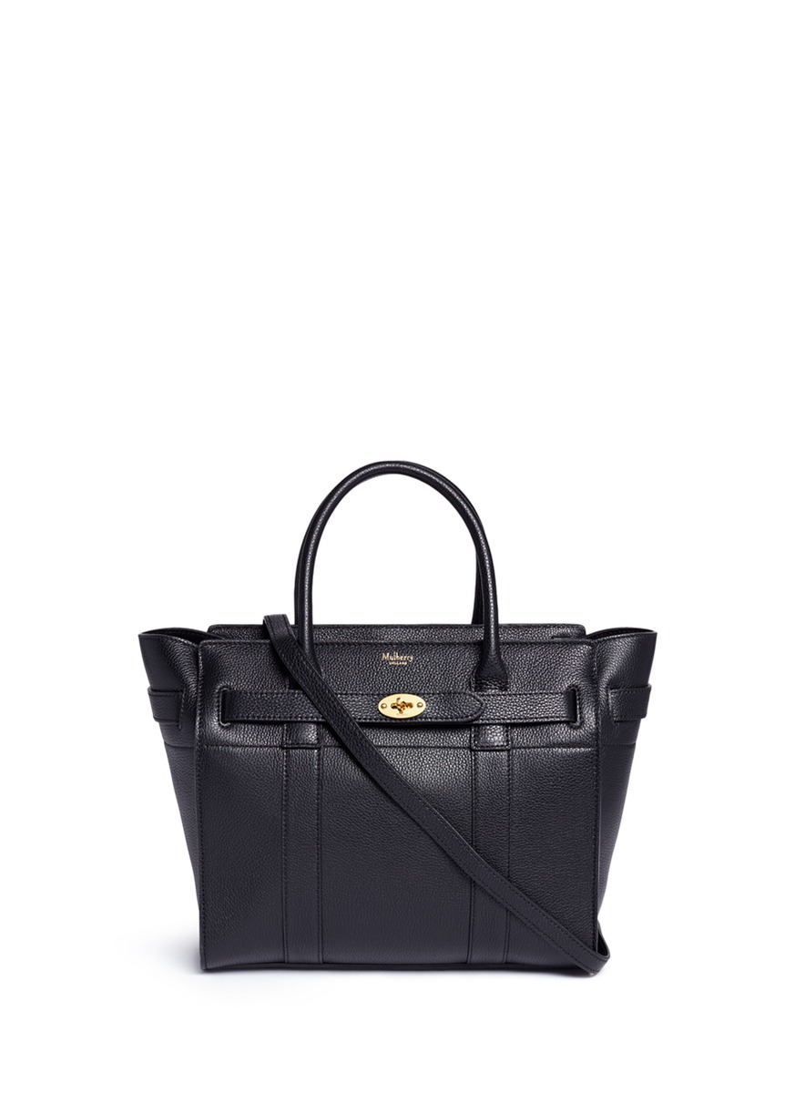 Small Zipped Bayswater grainy leather tote by Mulberry