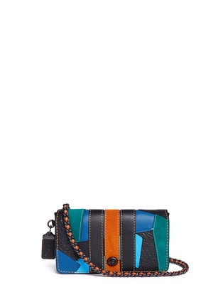 Main View - Click To Enlarge - Coach - 'Dinky' varsity patchwork leather crossbody bag